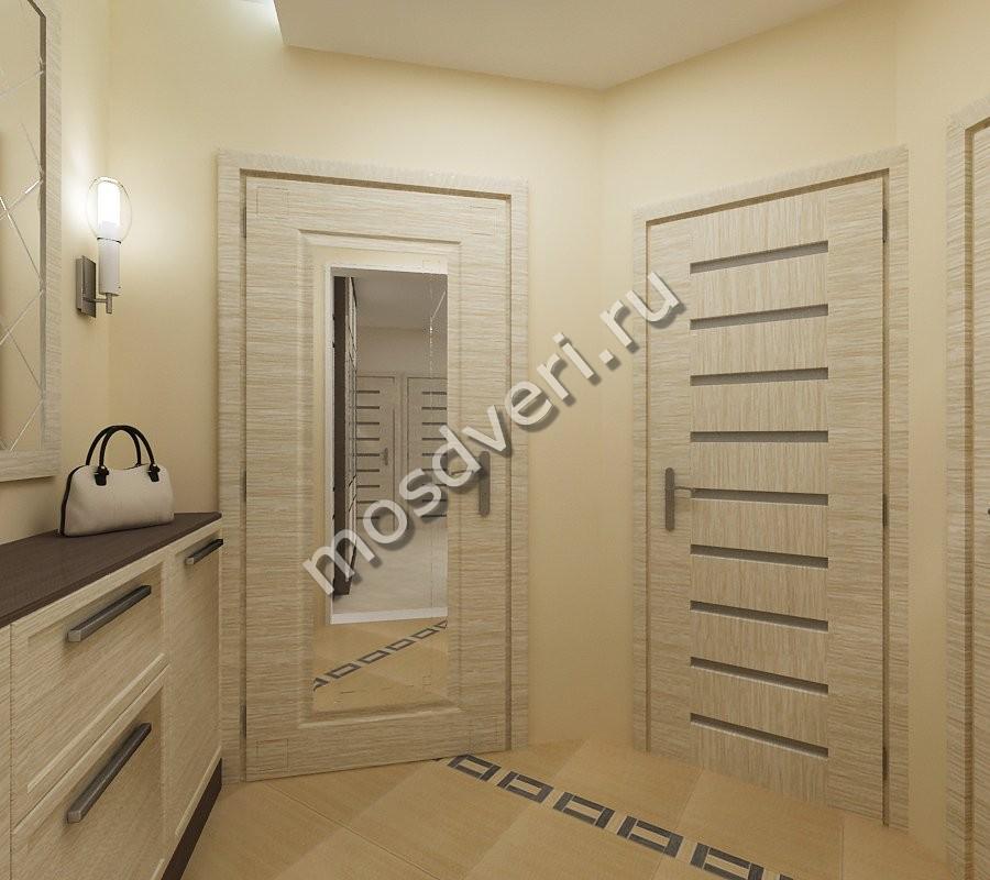 Квартирная дверь бежевого цвета из мдф с зеркалом - купить в.
