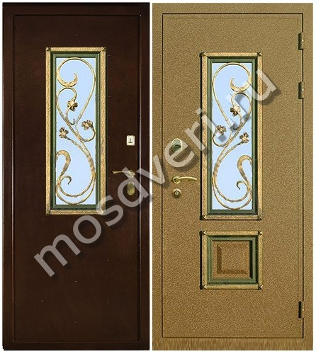 стандартные металлические двери со стеклом
