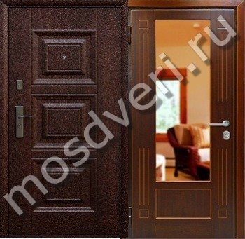недорого металлические двери с зеркалом внутри