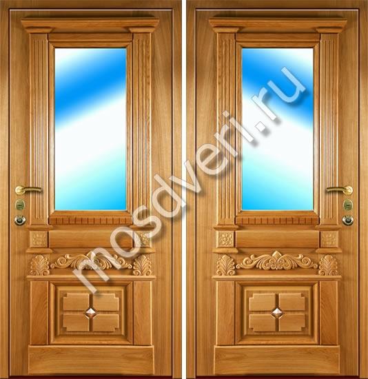 элитные входные двери со стеклом из массива
