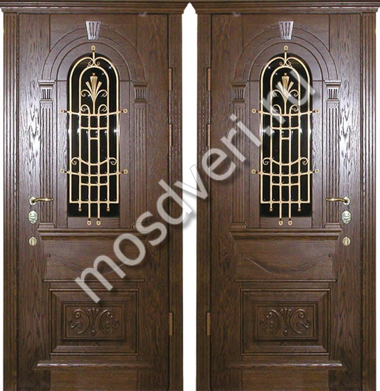 входная парадная дверь со стеклопакетом и ковкой