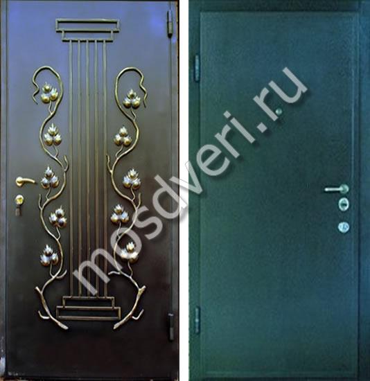 железная дверь с напылением и ковкой