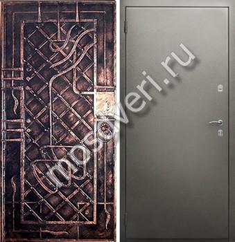 стальные двери с порошковым напылением и ковкой