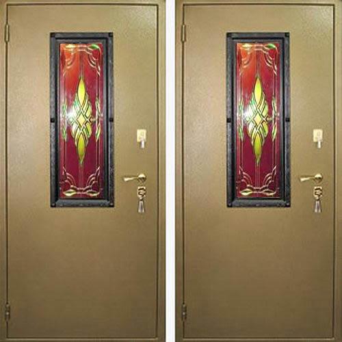 дверь уличная входная с витражом 1800