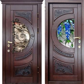 входные двери ковка и витраж