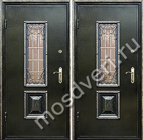дешевые эконом металлические двери со стеклом и ковкой