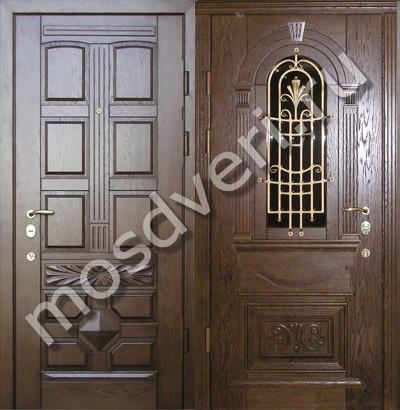 железные двери с зеркалами и ковкой